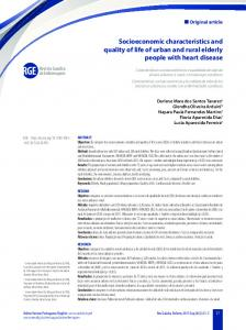 Socioeconomic characteristics and quality of life of urban and rural ...