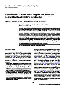 Socioeconomic Context, Social Support, and ... - Springer Link