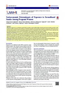 Socioeconomic Determinants of Exposure to Secondhand Smoke
