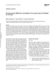 Socioeconomic differences in incidence of cervical ...