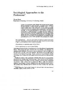 Sociological Approaches to the Professions. - Holy Spirit Library