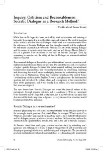 Socratic Dialogue as a Research Method? - Society for Philosophy in ...
