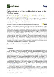 Sodium Content of Processed Foods Available in the Mexican ... - MDPI