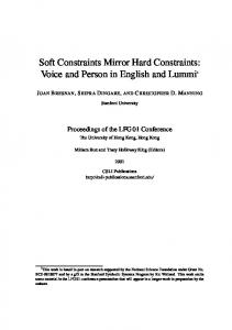 Soft Constraints Mirror Hard Constraints: Voice and Person in ...