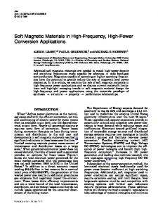 Soft Magnetic Materials in High-Frequency, High-Power ... - OSTI.gov