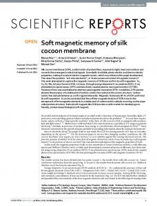 Soft magnetic memory of silk cocoon membrane - Nature