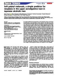 Soft palatal melanosis, a simple predictor for ... - Wiley Online Library