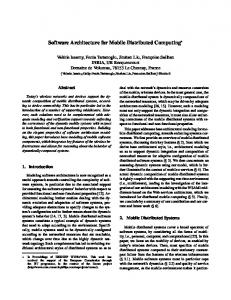 Software Architecture for Mobile Distributed Computing - CiteSeerX