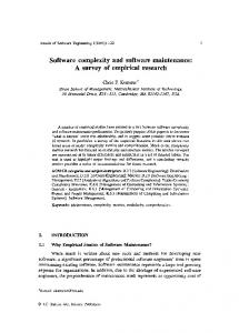 Software complexity and software maintenance: A survey of empirical ...