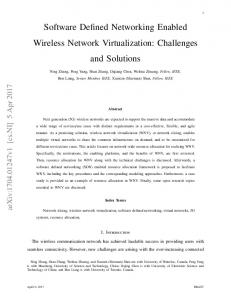 Software Defined Networking Enabled Wireless Network ... - arXiv