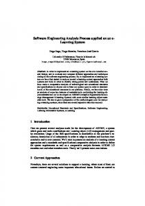Software Engineering Analysis Process applied on an e- Learning ...