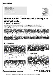 Software project initiation and planning - An empirical study (PDF ...