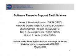 Software Reuse to Support Earth Science - NASA