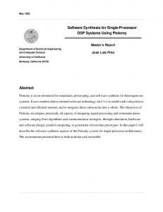 Software Synthesis for Single-Processor DSP Systems ... - UC Berkeley
