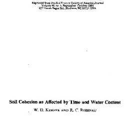 Soil Cohesion as Affected by Time and Water ... - Semantic Scholar