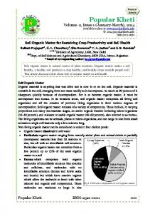 Soil Organic Matter for Sustaining Crop Productivity and Soil Health