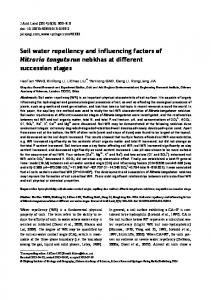 Soil water repellency and influencing factors of Nitraria ... - Springer Link
