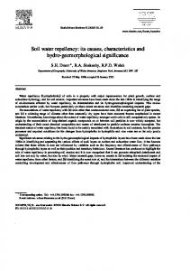 Soil water repellency: its causes, characteristics and ...