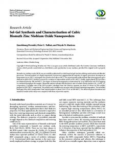Sol-Gel Synthesis and Characterization of Cubic Bismuth Zinc