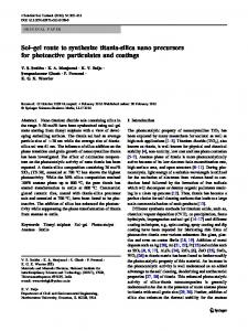 Sol–gel route to synthesize titania-silica nano ... - Springer Link