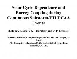 Solar Cycle Dependence and Energy Coupling ...