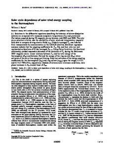 Solar cycle dependence of solar wind energy coupling to the ...