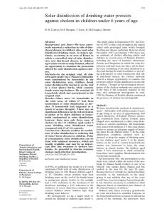 Solar disinfection of drinking water protects against cholera in ... - NCBI