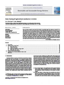Solar drying of agricultural products: A review