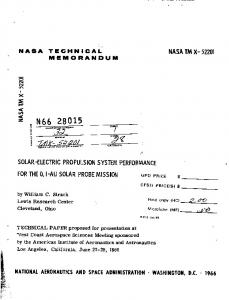 Solar-electric propulsion system performance for the 0.1-AU solar ...
