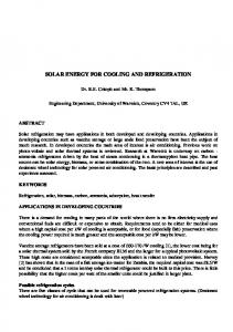 SOLAR ENERGY FOR COOLING AND REFRIGERATION