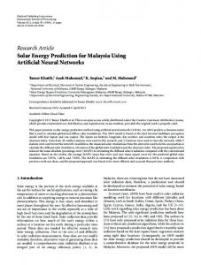Solar Energy Prediction for Malaysia Using Artificial Neural Networks