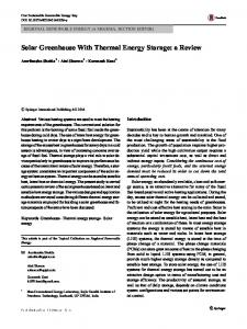 Solar Greenhouse With Thermal Energy Storage: a ...