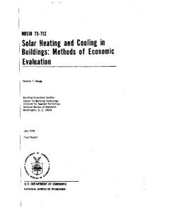 Solar Heating and Cooling in Buildings: Methods of Economic ...