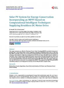 Solar PV System for Energy Conservation Incorporating an MPPT ...