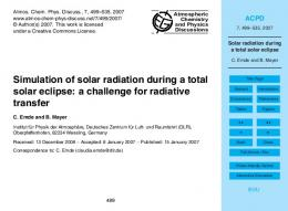 Solar radiation during a total solar eclipse
