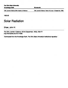 Solar Radiation - Knowledge Bank - The Ohio State University