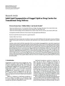 Solid Lipid Nanoparticles of Guggul Lipid as Drug Carrier for