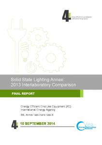 Solid State Lighting Annex: 2013 Interlaboratory Comparison