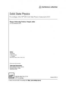 Solid State Physics - Proceedings.com