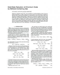 Solid-state reduction of chromium oxide by methane ... - Springer Link