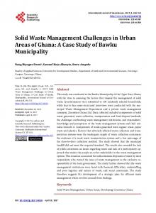 Solid Waste Management Challenges in Urban Areas of Ghana: A ...