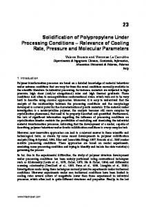 Solidification of Polypropylene Under Processing Conditions ...