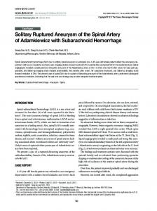 Solitary Ruptured Aneurysm of the Spinal Artery of ... - Semantic Scholar