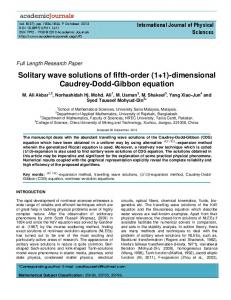 Solitary wave solutions of fifth-order (1+1 ...