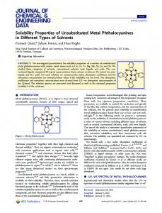 Solubility Properties of Unsubstituted Metal ... - ACS Publications