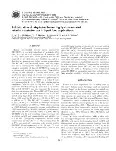 Solubilization of rehydrated frozen highly concentrated micellar casein ...