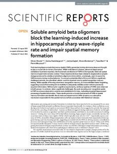 Soluble amyloid beta oligomers block the learning ... - Semantic Scholar