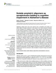 Soluble amyloid-β oligomers as synaptotoxins leading to ... - CiteSeerX