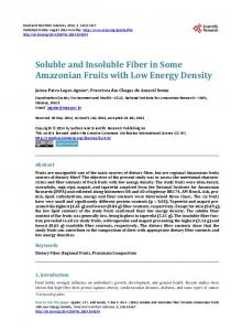 Soluble and Insoluble Fiber in some Amazonian ...