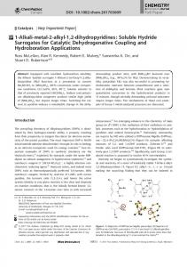 Soluble Hydride Surrogates for Catalytic Dehydrogenative Coupling ...